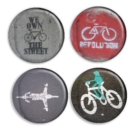 Stencil Graffiti Button Set - Bicycle Revolution