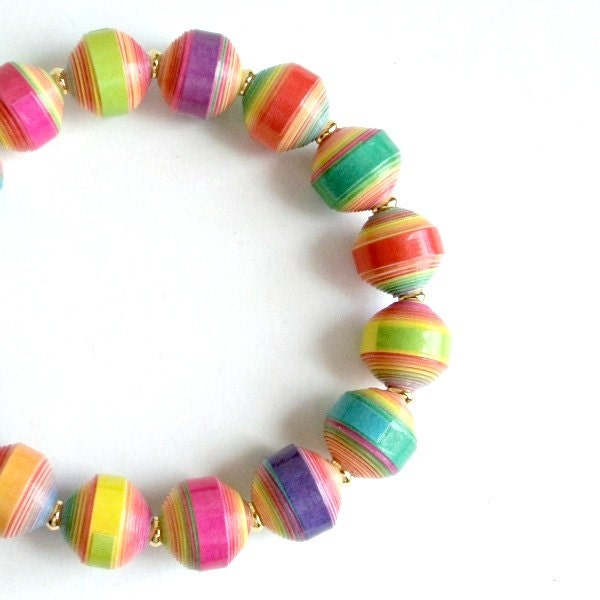 Neon Multicolor PAPER BEAD Stretch Bracelet,  custom sizing - shipping included - itsmolly