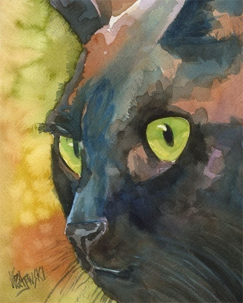 Black Cat Art Print of Original Watercolor Painting  - 11x14 Cat Art - dogartstudio
