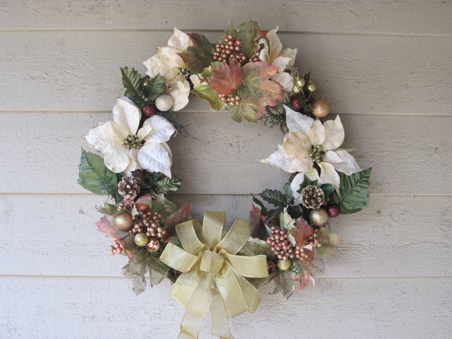 Frosted Leaves and Poinsettia Wreath