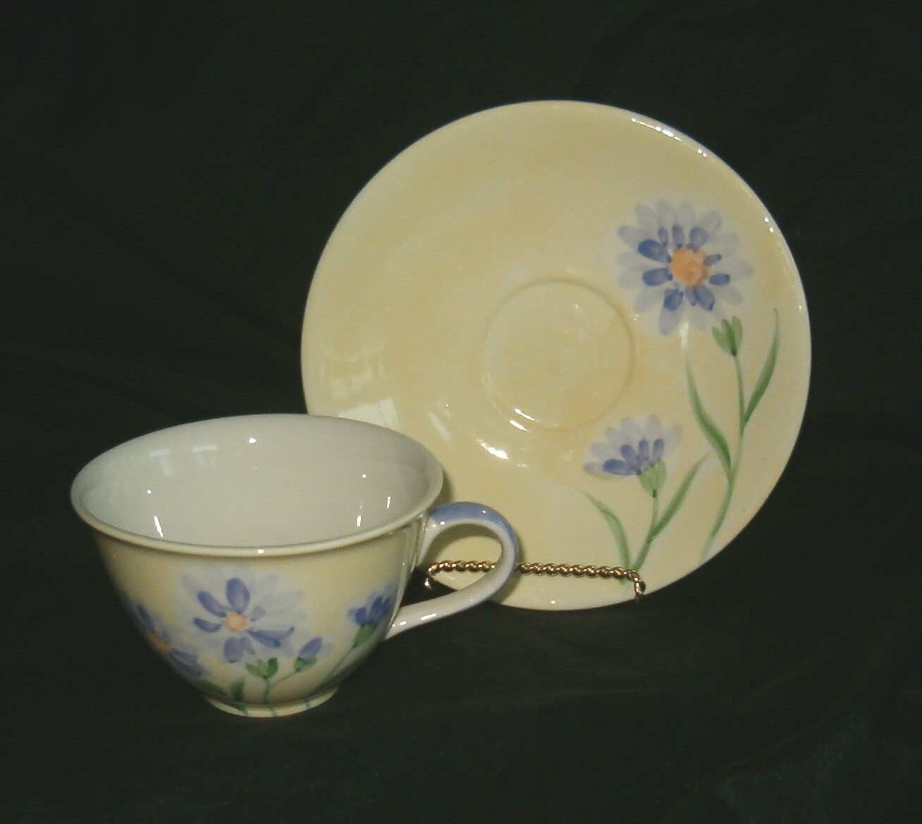 Yellow Purple Lavender Floral Ceramic Teacup Saucer Plate Herman Dodge and Son Inc