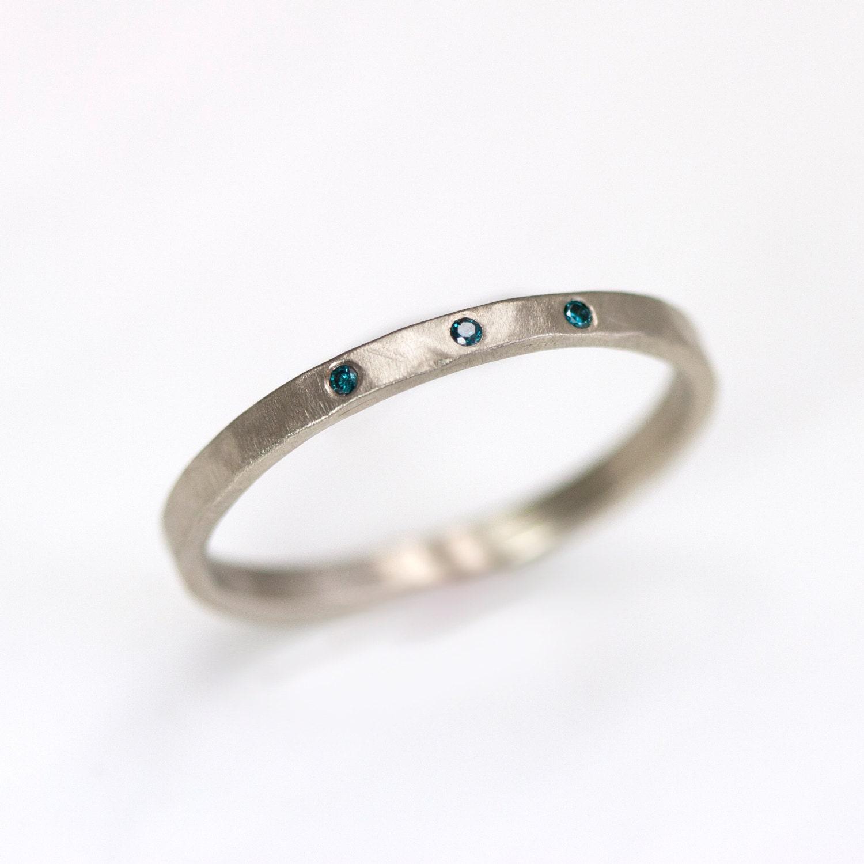 Items Similar To 14k White Gold Wedding Band With Diamonds 2mm Hammered Wedding Band On Etsy