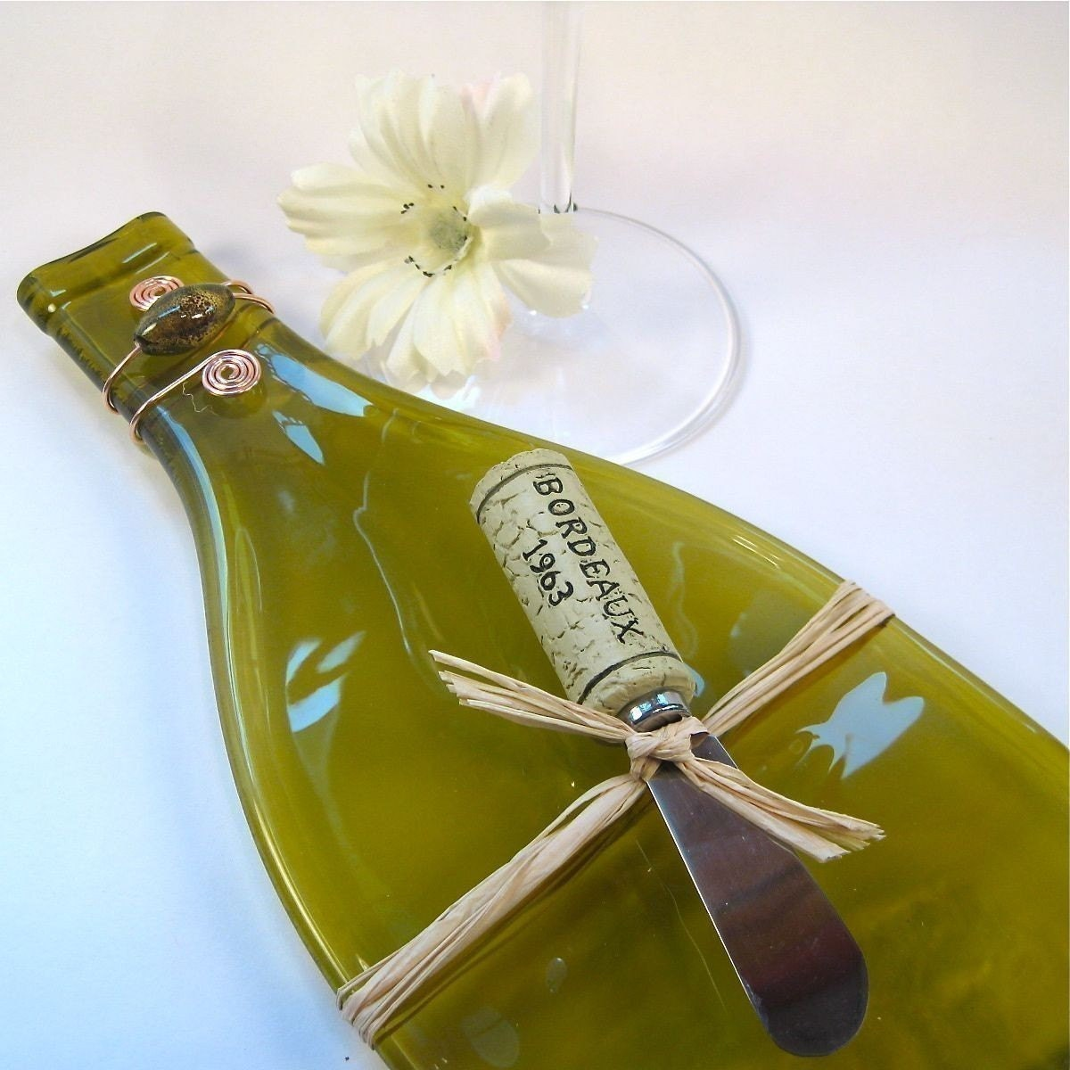 Flattened Wine Bottle Serving Tray - Olive Green and Eco Friendly