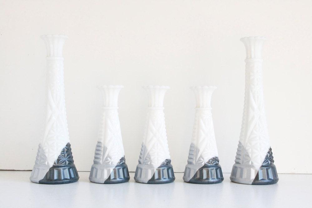 Ombre Milk Glass Vase Set, Silver Winter Wedding Decor - FalconandFinch