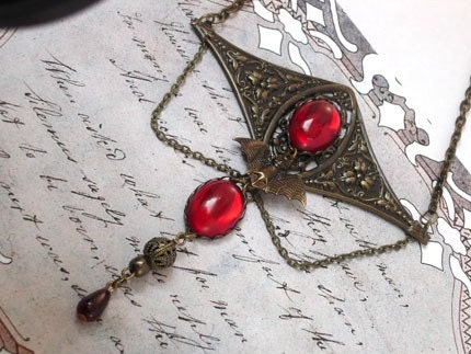 Gothic Victorian Vampire Jewelry Necklace - True Blood Choker - Gothic Halloween Necklace
