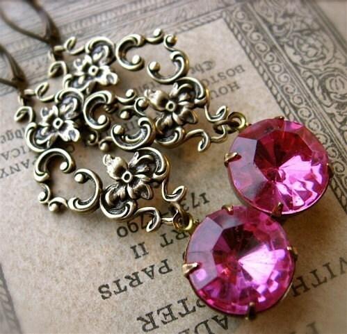 Marie Antoinette Opulent Earrings in Rose Pink