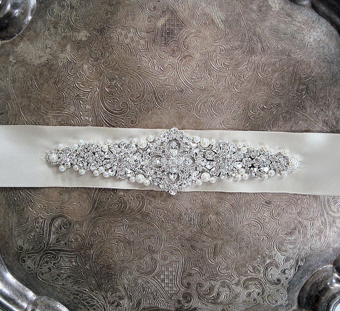 Lovely rhinestone and pearl bridal sash