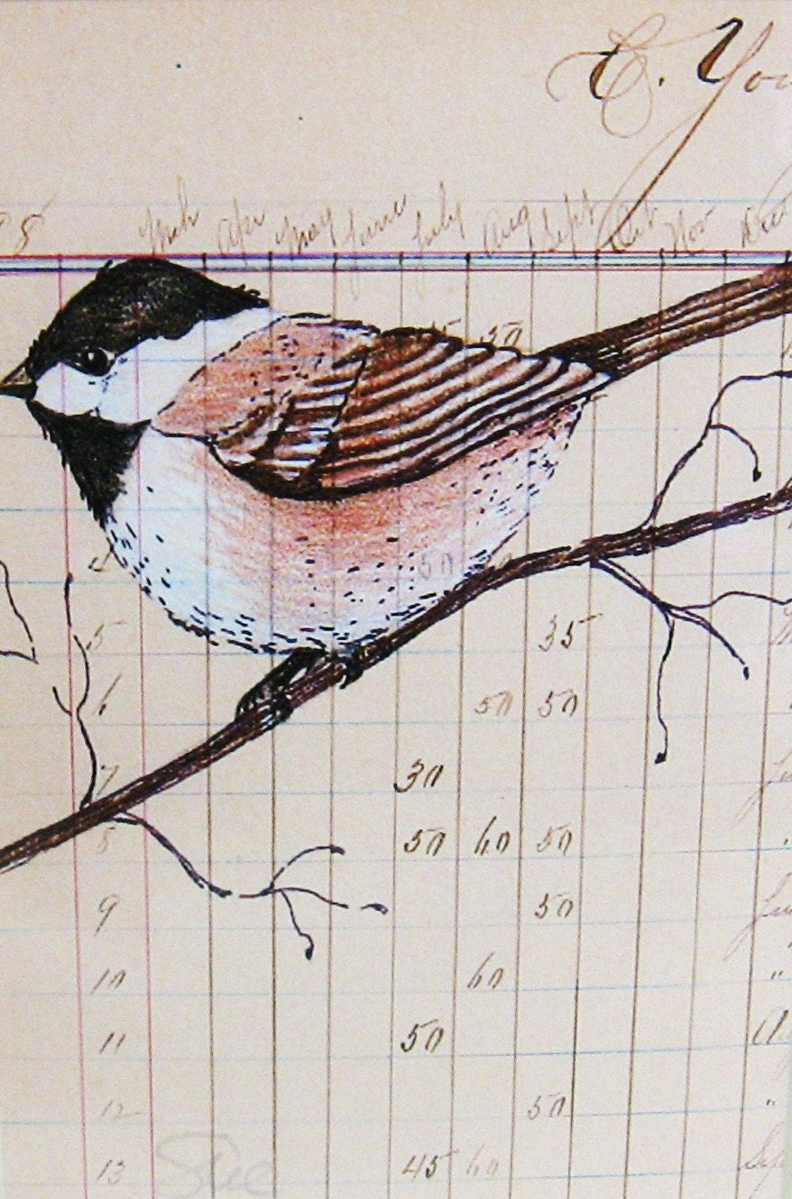 Primitive Folk Art Chickadee and Vintage Paper Print - digiliodesigns