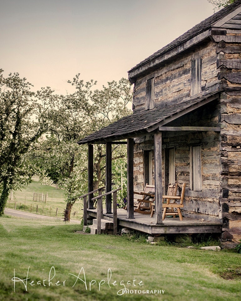 11x14 Matted Print - Log Cabin at Dusk Photograph - heaphotography