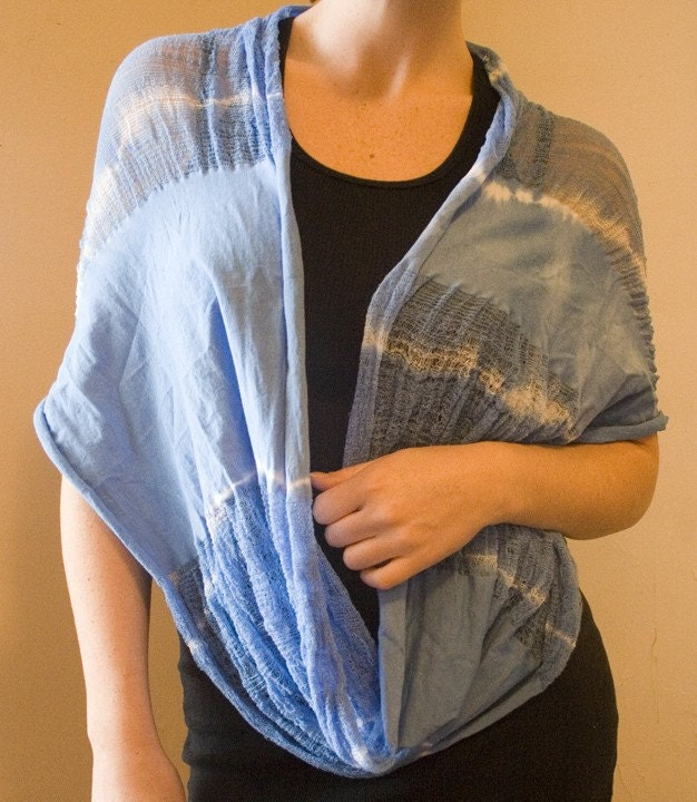 Shredded Circle Scarf Baby Blue Dyed One Size