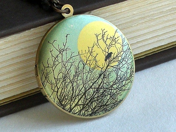 Blackbird In A Tree - Photo Art Locket Necklace