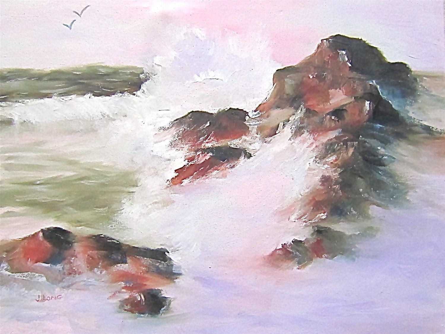 Painting Print Seascape pink green rust white waves brown rocks sea birds 'Ocean Sunrise'