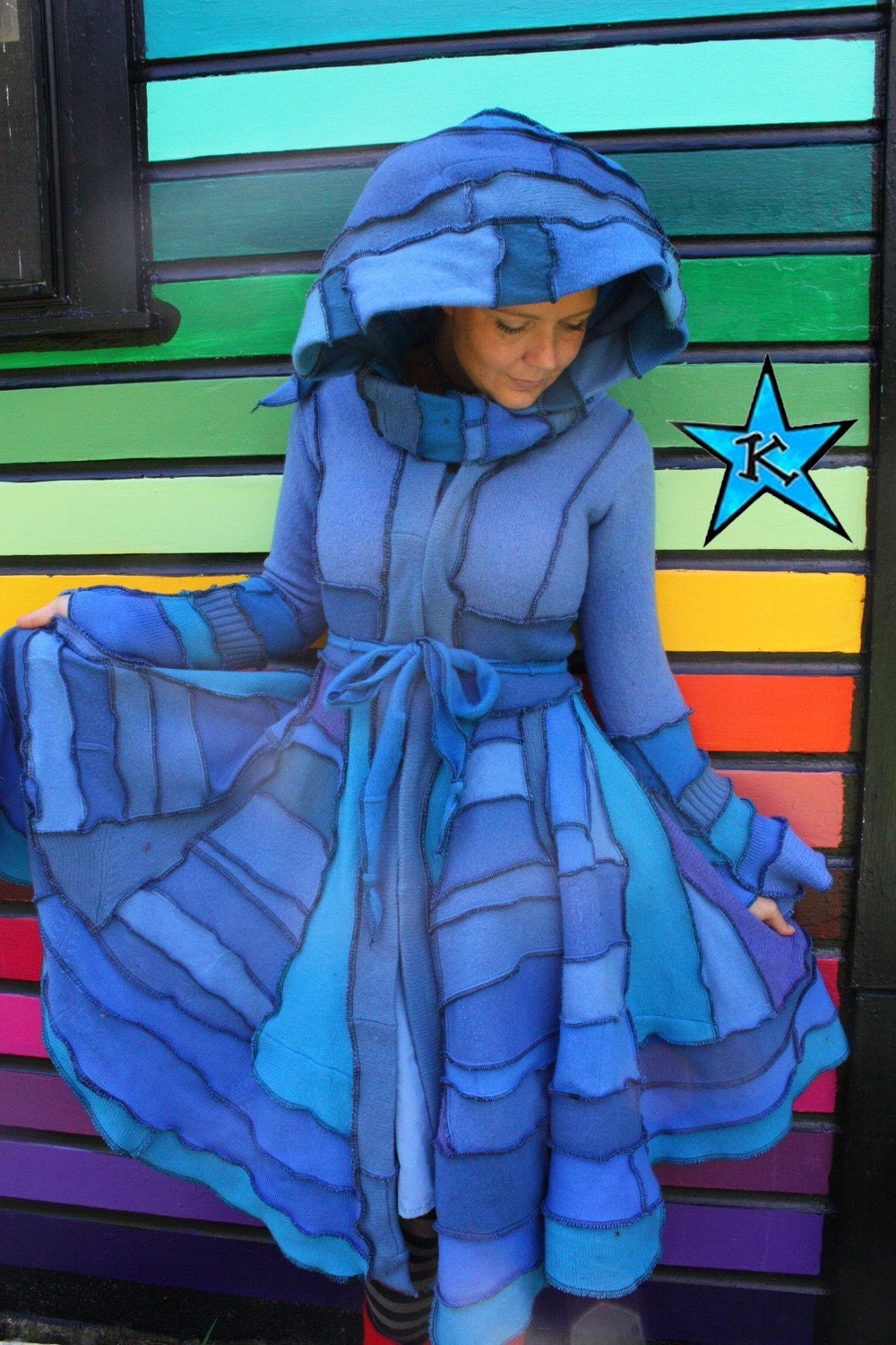 RESERVED for TukTUk -ELF COAT Long recycled Sweater coat - Pixie Fairy Faerie Fae couture