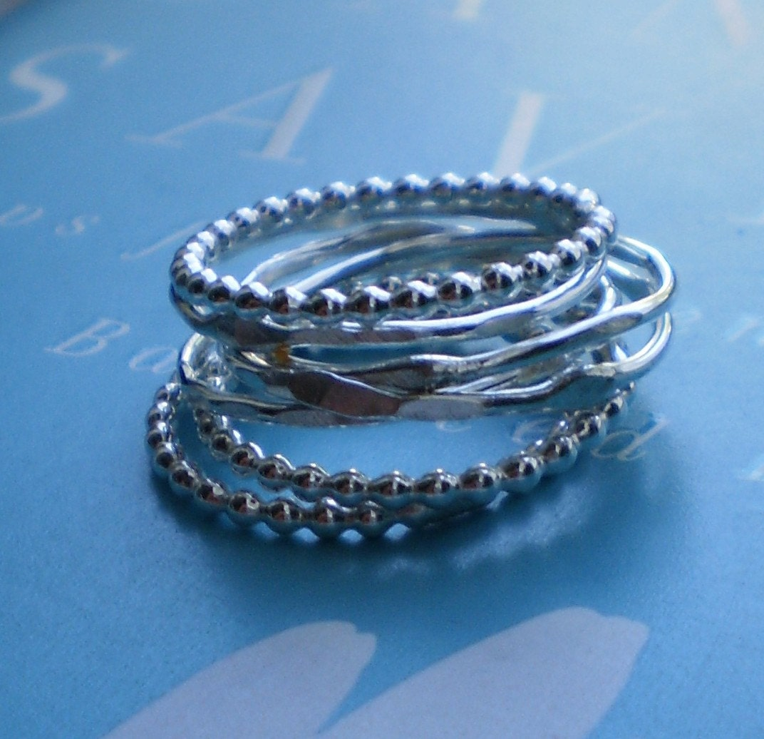 Simply Skinny and Beaded Sterling Silver Stacking Rings - Lucky Set of 7