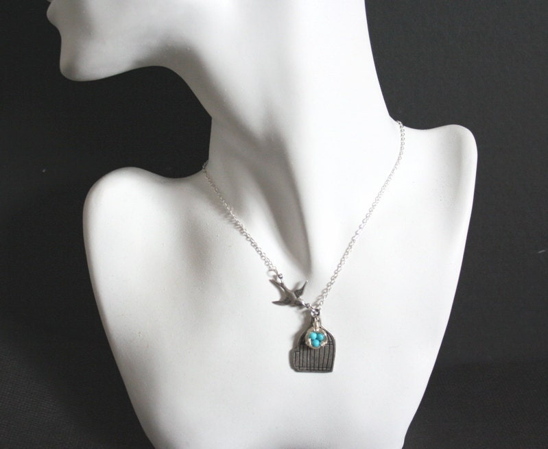 Bird Cage  Sparrow and Turquoise Bird Nest Necklace by smilesophie