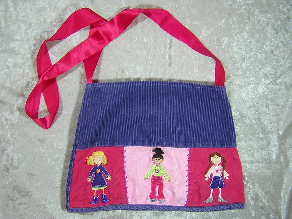 Purple and Pink Paper Doll Upcycled Skirt Bag - Handmade by Rewondered D201P-00001 - $19.95
