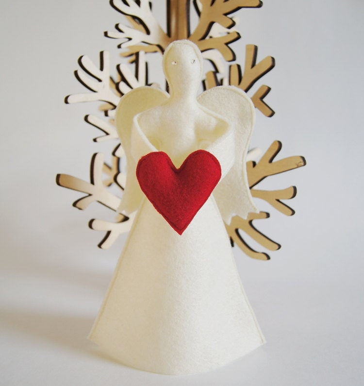 Items similar to angel tree topper with heart eco felt for Angel of the north christmas decoration