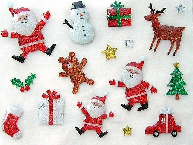 Santa Claus Snowman Deer Bear and Christmas Tree - Cute Japanese Glittery Stickers - Christmas in July (S598)
