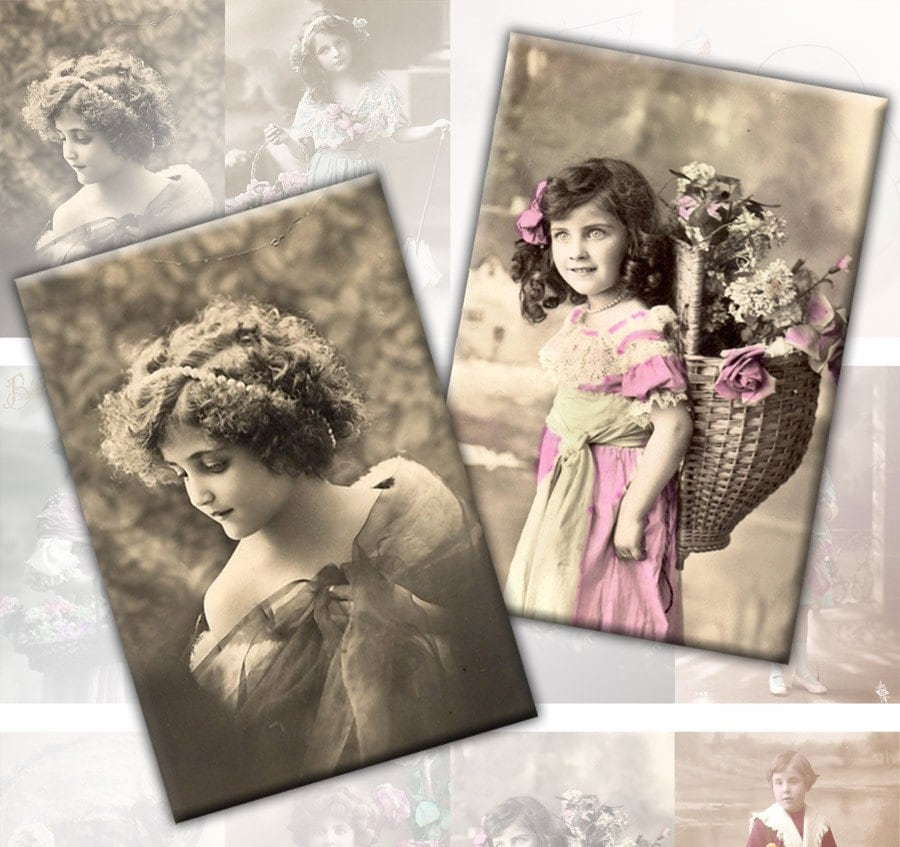Victorian and edwardian Vintage children digital collage sheet 2x3 inches rectangles Download Vol. 2 (123) Buy 3 - get 1 free