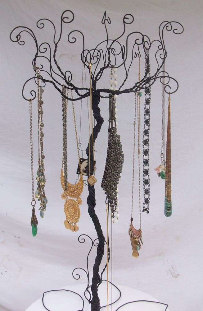 Large wire necklace jewelry tree stand pre by claudineslimited for How to make a wire tree jewelry stand