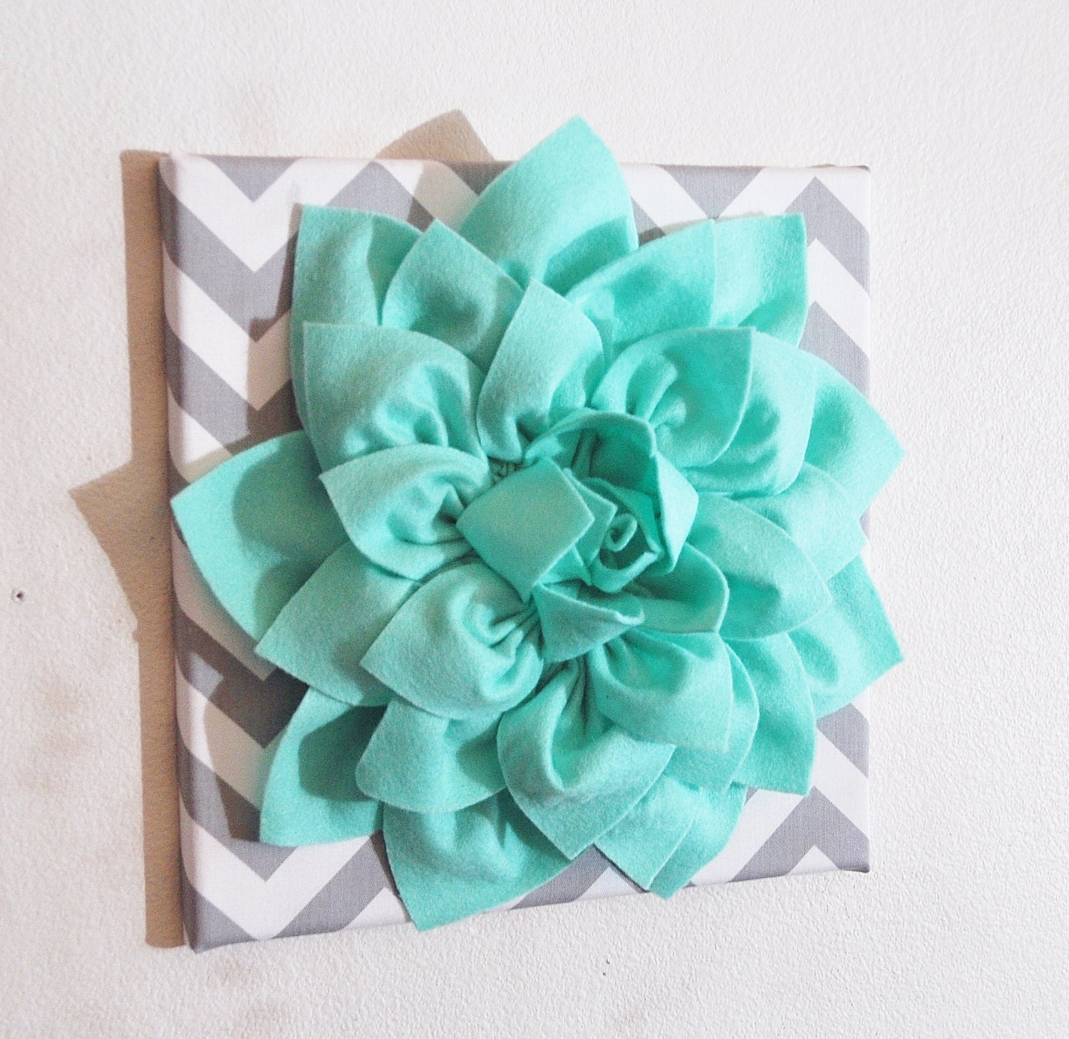 Large Mint Green Flower Wall Hanging -Flower Wall Decor- Chevron Home Decor -NEW COLOR- - bedbuggs