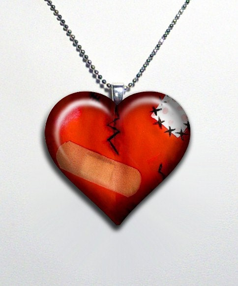 Bandaged Emo Broken Heart Glass Pendant Necklace 42-H