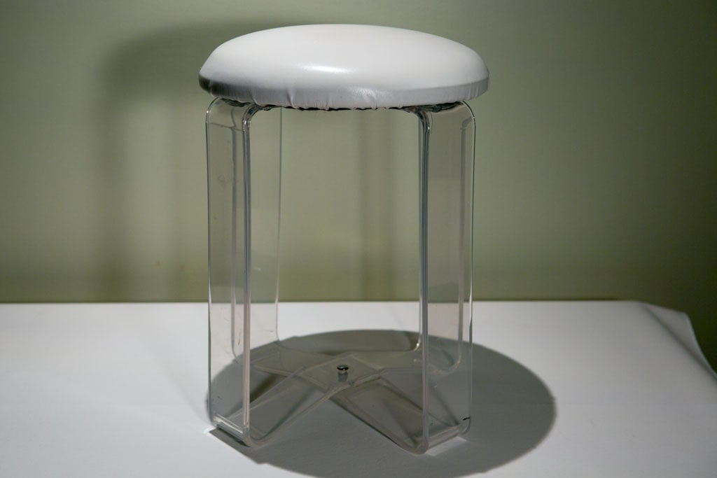 Vintage lucite white vanity stool by reviverlabs on etsy