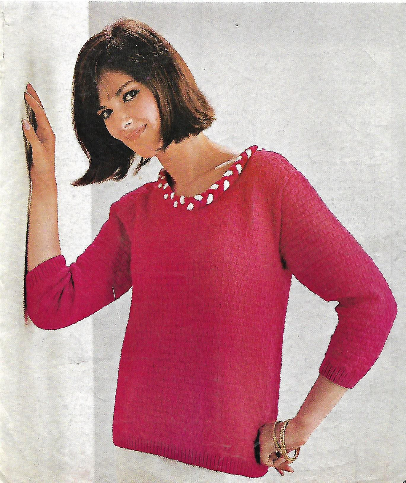 knitting pattern womens ladies 60s fashion sweater sizes 32 to 36 bust double knitting