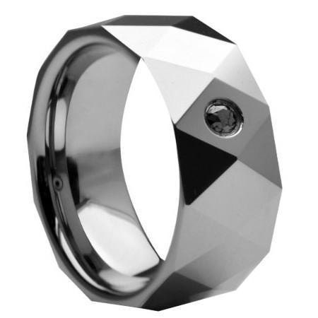 8MM Black Diamond And Faceted Tungsten Wedding Band