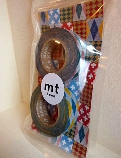 Japanese Washi Masking Tapes - Pink and Yellow Argyle, Set of 2 (15mmx15M)