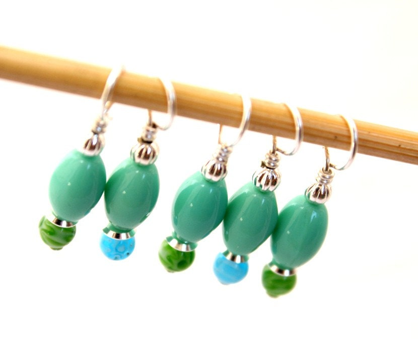 Turquoise Sliver- Knitting Stitch Markers- Set of 5- Medium