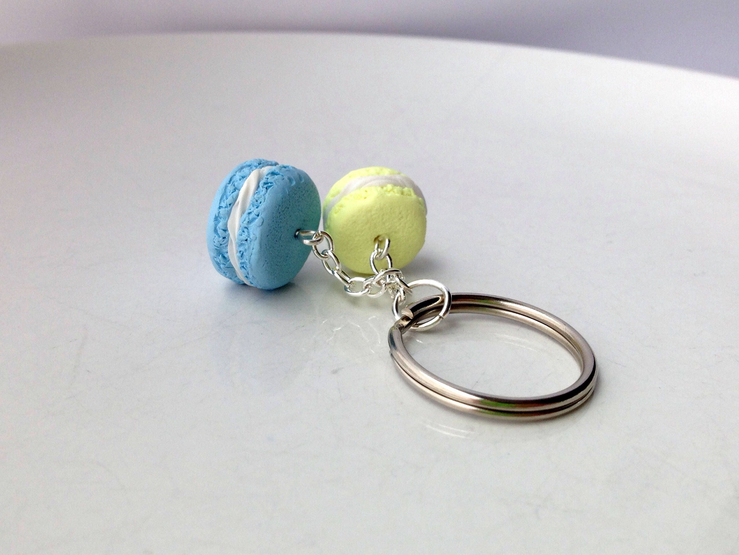 French Macaron Keyring Keychain Polymer Clay Miniature Food Jewellery jewelry Food Accessories Food Gift For Her