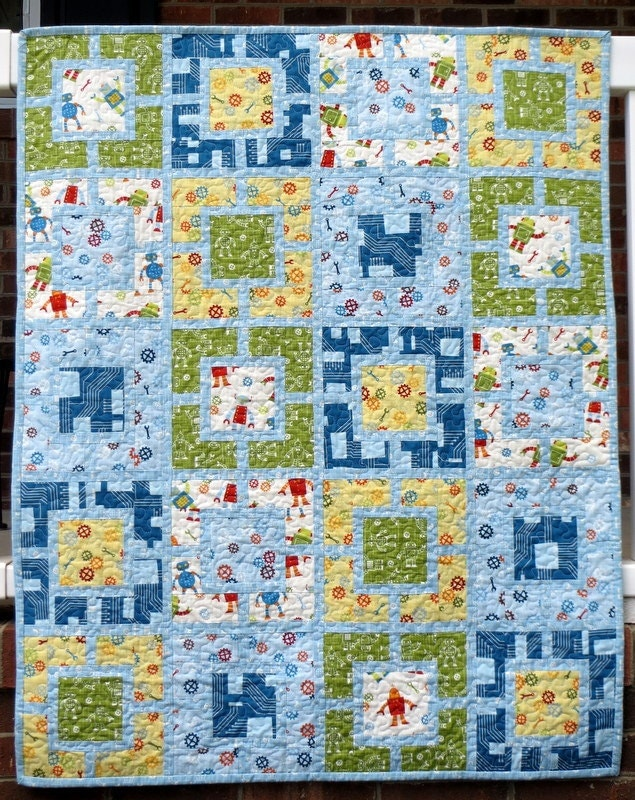 Baby Boy Quilt Patterns Set : Robot Factory Boy's Quilt 20 off at by sewsuecatlettsew
