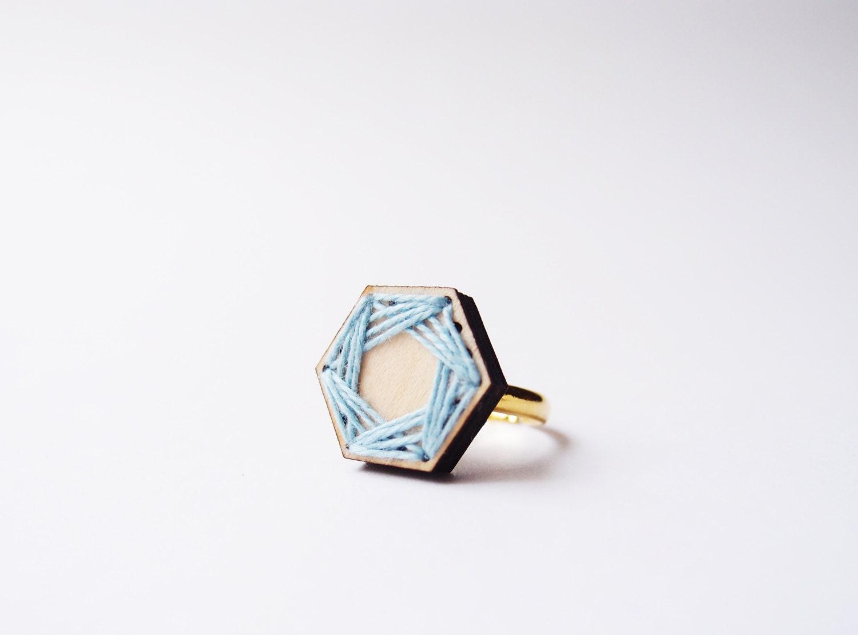 wooden laser cut geometric ring . pastel blue thread . hexagon . golden ring - TheLittleChilli