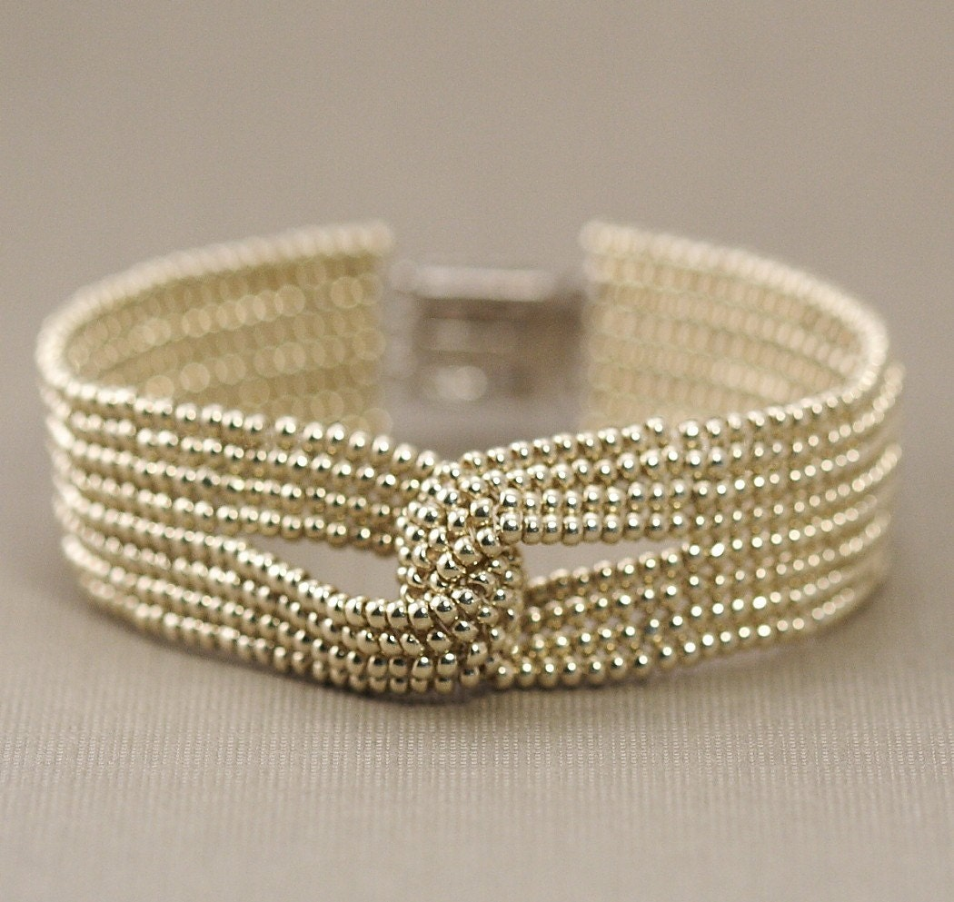 Shipping Included - Beaded Silver Love Knot Bracelet