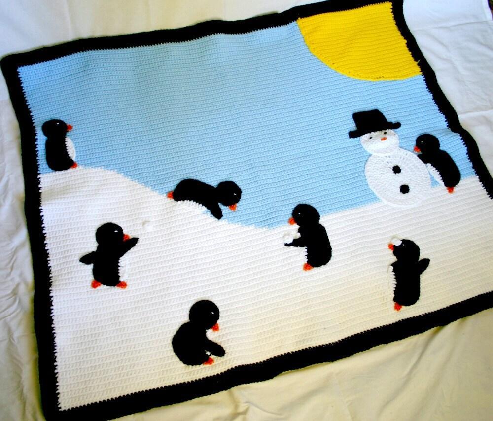 Penguin afghan winter scene crochet throw blanket critter bird snow sun snowman blue black white yellow playful fun cute home decor