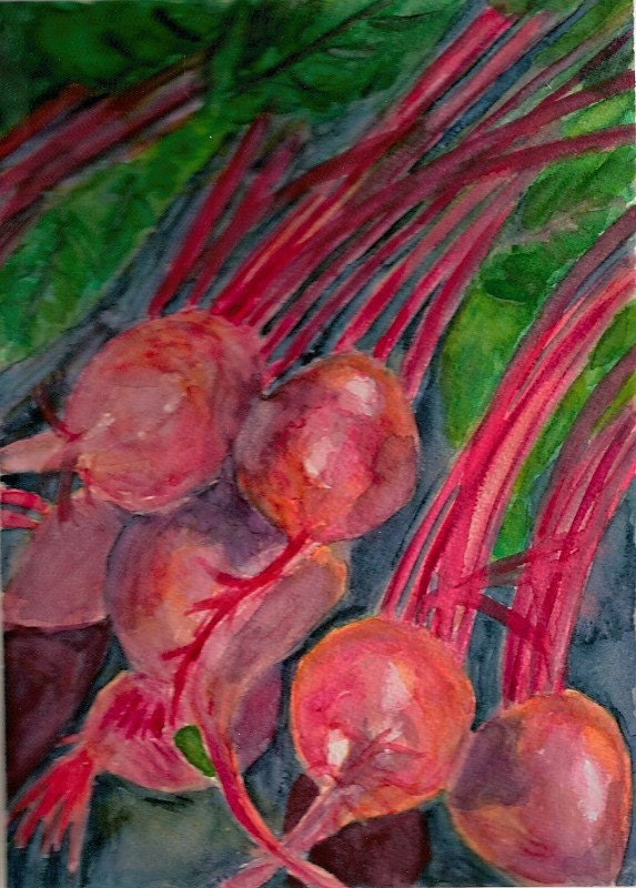Vibrant Beets -original watercolor print