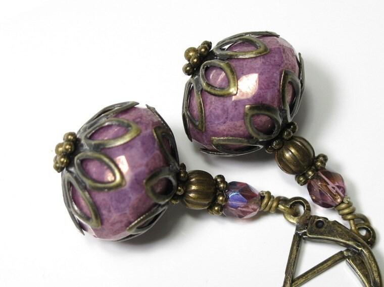 Antique Amethyst Czech Glass Vintage Style Earrings