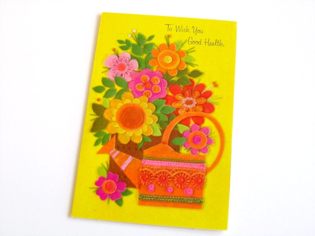 vintage get well card NOS unused greeting card - OliversPaperie