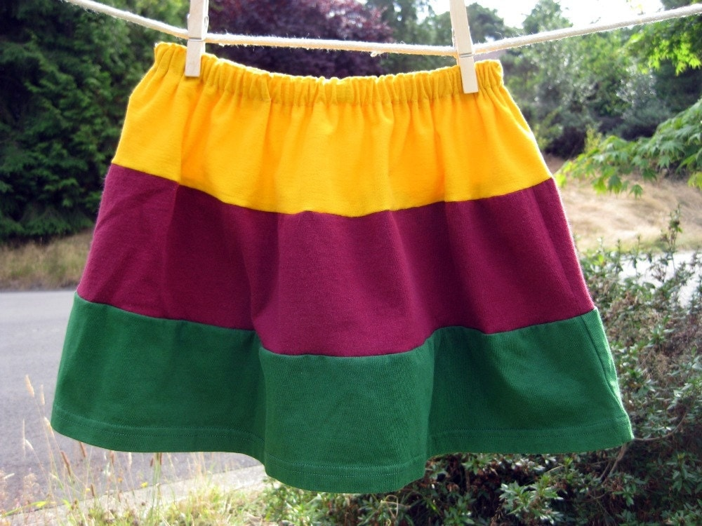 Upcycled Toddler Skirt Yellow, Plum, and Green size 4T OOAK