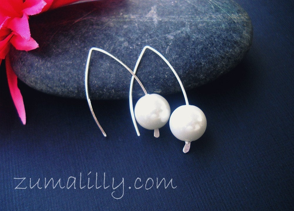 White Swarovski Pearls with Sterling Silver Ear Wires Eco Friendly Comfortable Simple Design Handcrafted