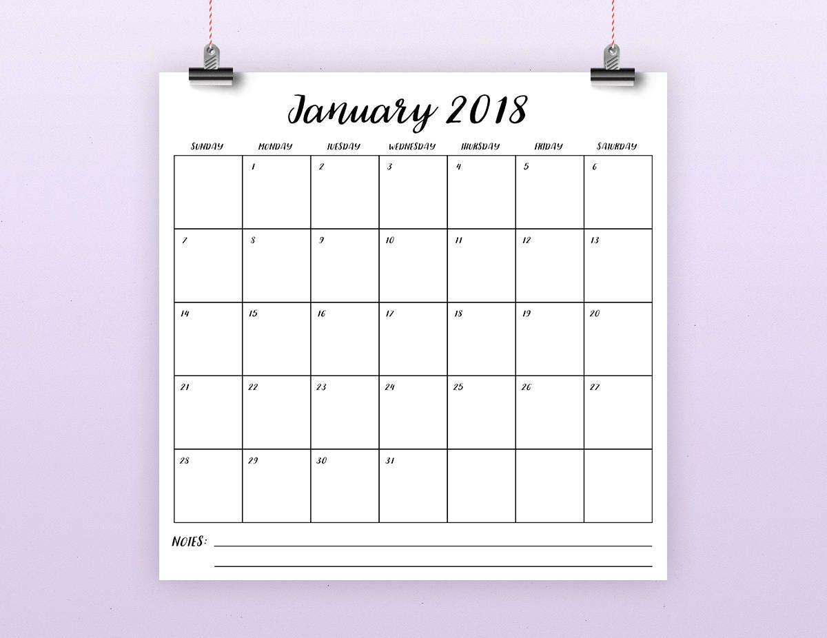 Square calendar 2018 | Etsy