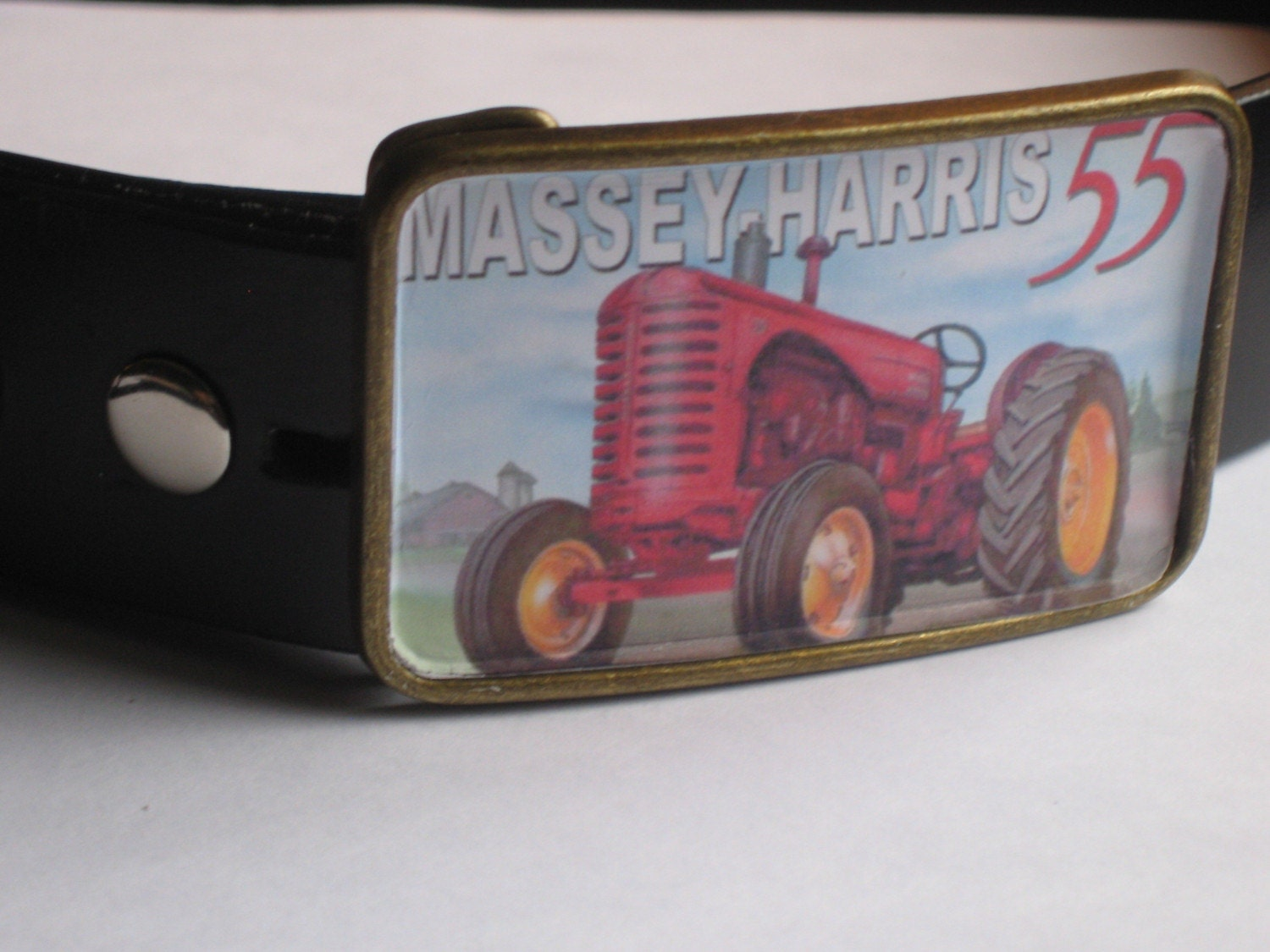 FREE SHIPPING Massey Harris 55 Vinatge Finish Belt Buckle by Jamie Riley Handamade cool travel gift BUCKLE WILL BE COMPLETED WITH GLASS RESIN ONCE ORDER IS FINAL GIFT WRAP INCLUDED  and FREE SHIPPING Tractor Farm