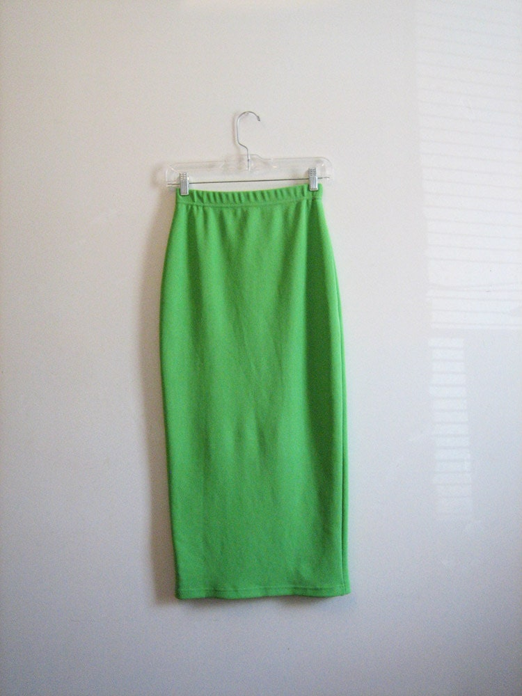 vtg bright lime green bodycon maxi lycra skirt by sussudionyc