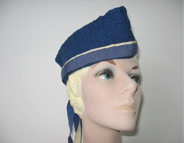 1940s Royal Blue Knit Garrison Style Hat with Grosgrain Trim  Liberty $55.00 AT vintagedancer.com