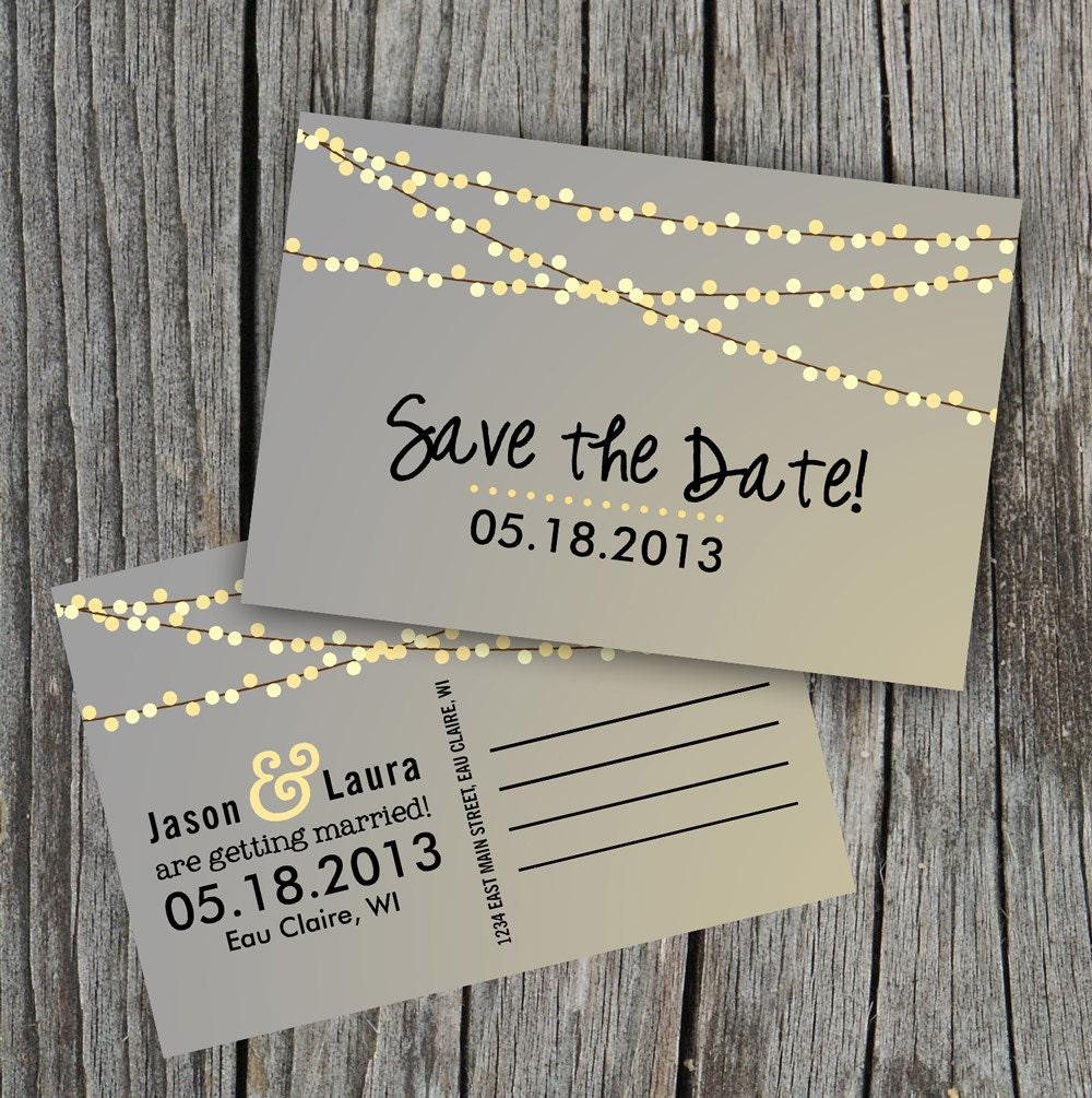 String Lights Save The Date : DIY Printable Save the Date Postcard String of by themunch