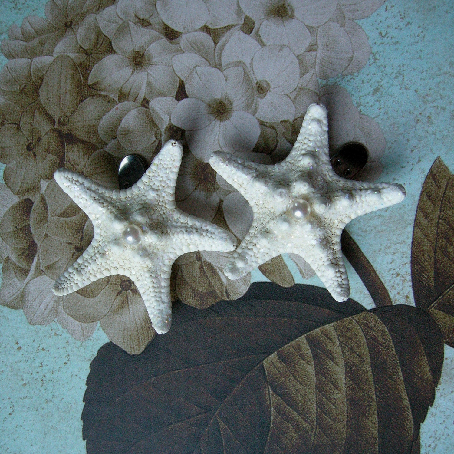 Pearly Stars  Starfish Shoe Clips by ShellScapes on Etsy from etsy.com