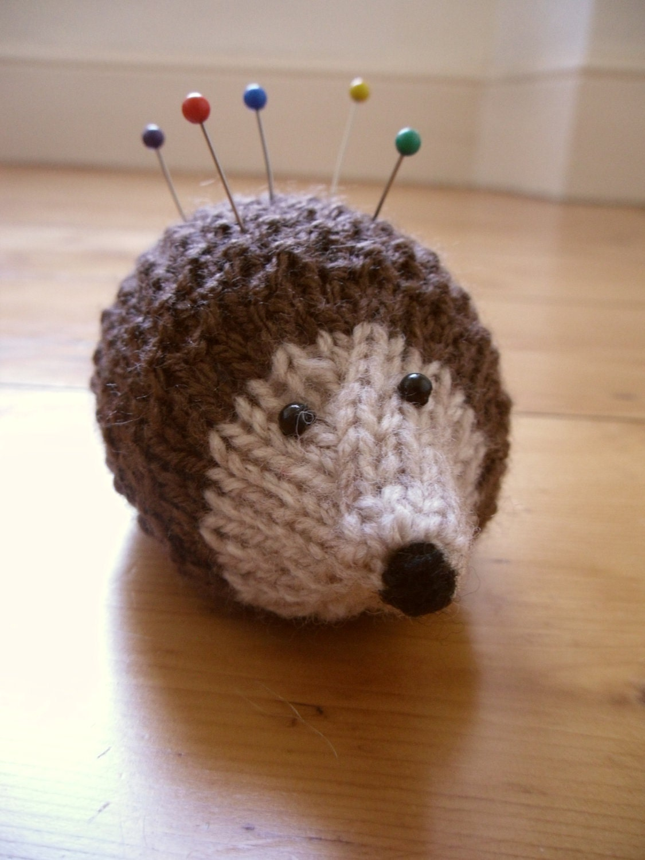 Knitting Pattern Pin Cushion : Pin Cushion Knitted Hedgehog Pin Cushion Sewing by BobbinRose