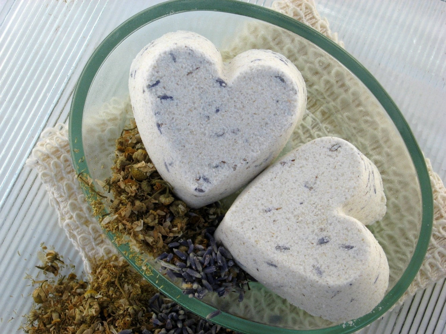 Lavender and Chamomile Heart Shaped Bath Bombs