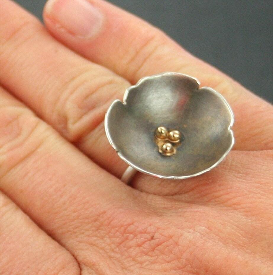 Sakura Ring - Sterling Silver and 14k Gold